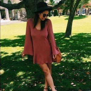 Bohemian Bell-Sleeve Mini Dress.